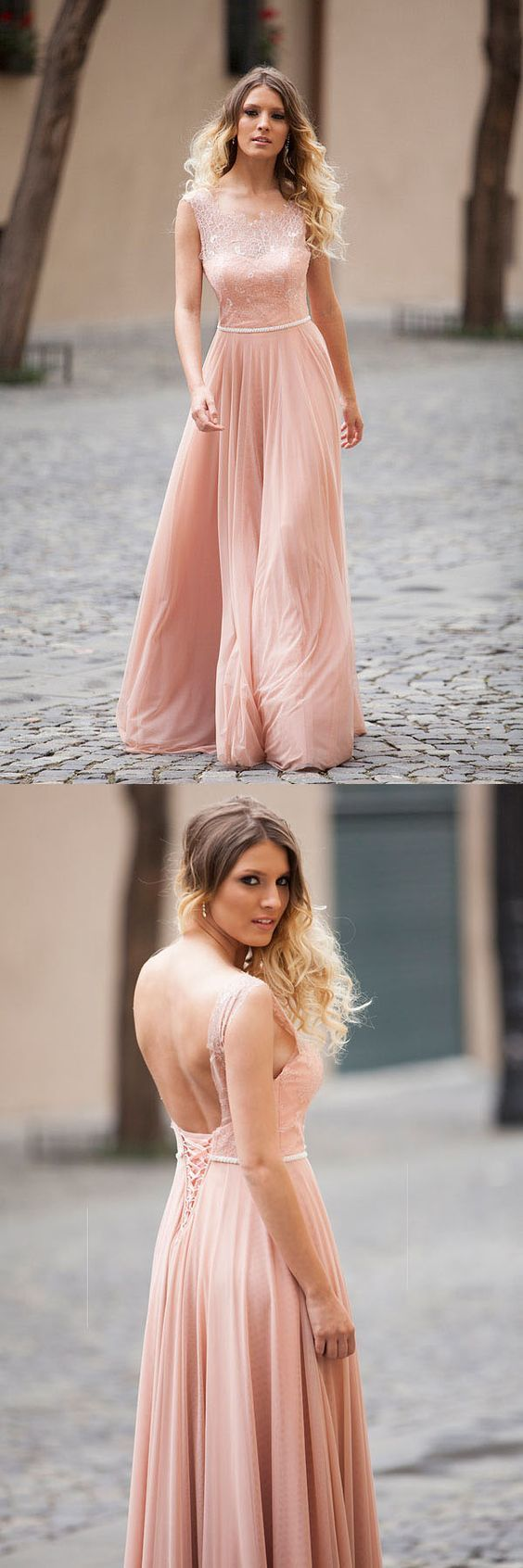 Elegant A-line Blush Pink Sleeveless Lace Prom/Evening Dresses