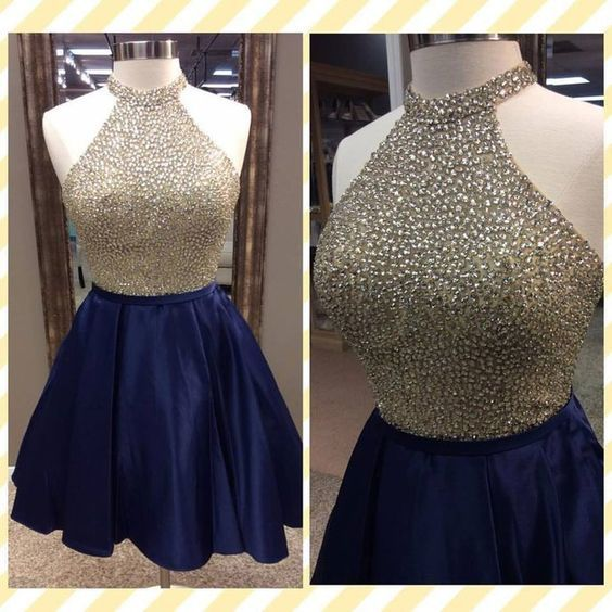 Homecoming Dress,Halter Homecoming Dresses,Beading Prom Dress,Short Prom