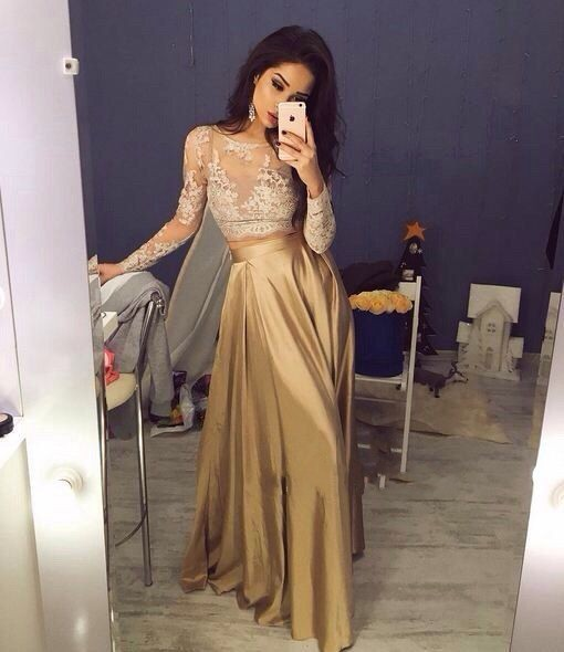 Champagne Long Sleeves Lace Prom Dress,Prom Dress 2018,See Through Lace Prom