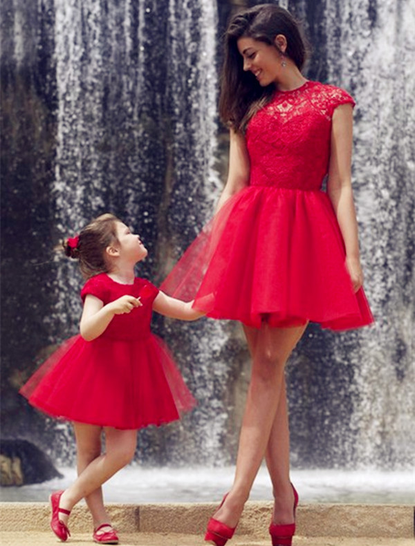 Two Pieces Red Tulle Charming Prom Dresses, Short/Mini Evening Dresses,Two Piece