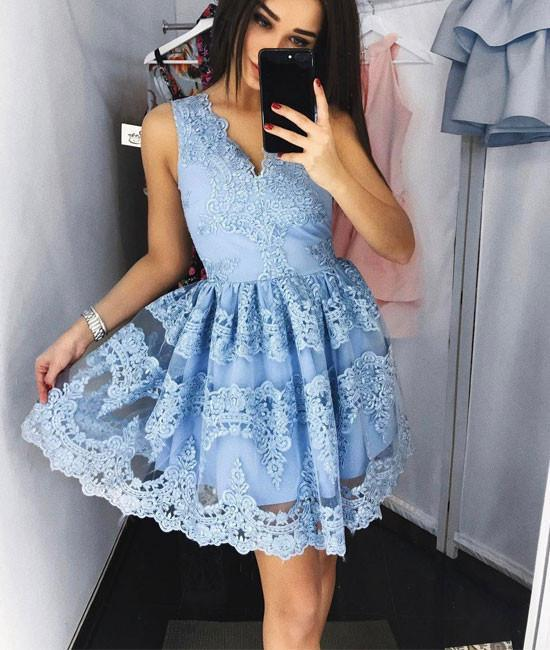 Charming Prom Dress,Cute Lace Short Prom Dress,Blue Lace Short Prom Dress,Lace