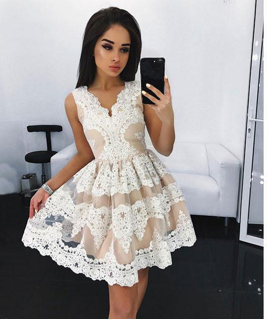 Charming Short Prom Dress,White Cute Lace Homecoming Dress, Short Evening Party