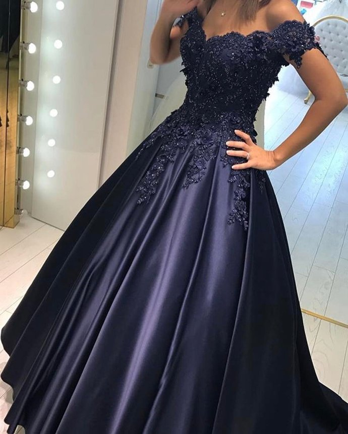Lace Flower Off The Shoulder Satin Prom Dresses Ball Gowns, Wedding Party