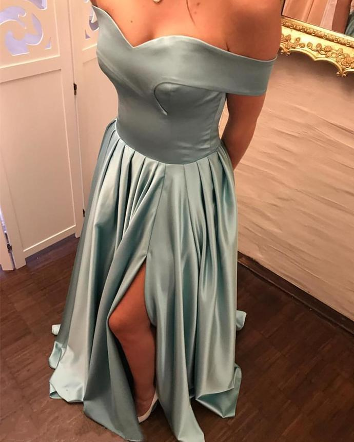 Off the Shoulder Long Prom Dress,Satin Prom Dress, Simple Prom Evening Dress,