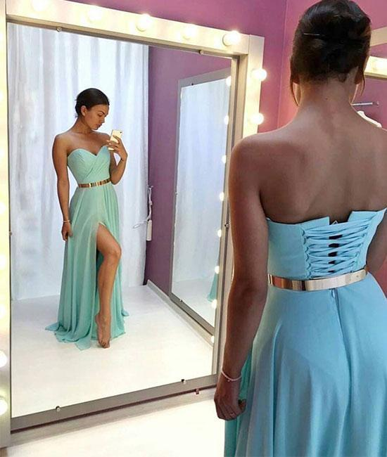 Sexy Prom Dress,Sweetheart Prom Dress,Chiffon Prom Dress,Sexy Slit Party