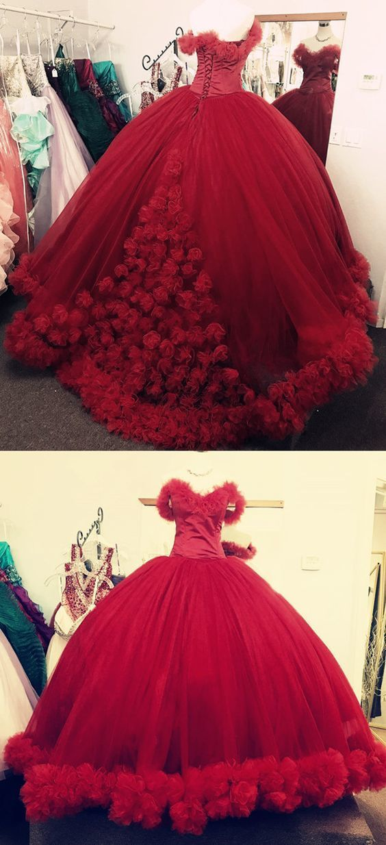 Red Wedding Dresses.Wine Red Wedding Dress Ball Gown Wedding Dresses 2018 Flower Wedding Dress Sweet 16 Dress Burgundy Quincenera Dress