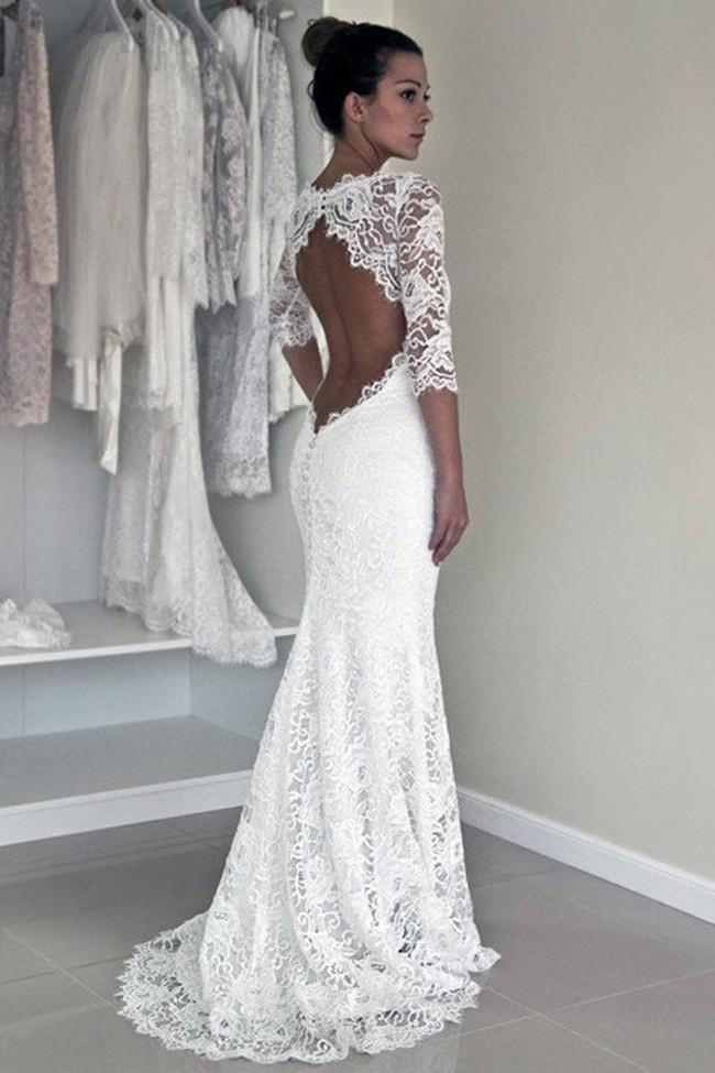 Lace Sleeve Mermaid Open Back Wedding Dresses