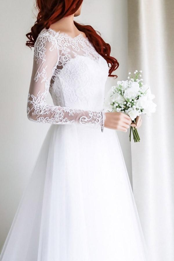 A-line Wedding Dresses,Long Sleeves by Miss Zhu Bridal on Zibbet