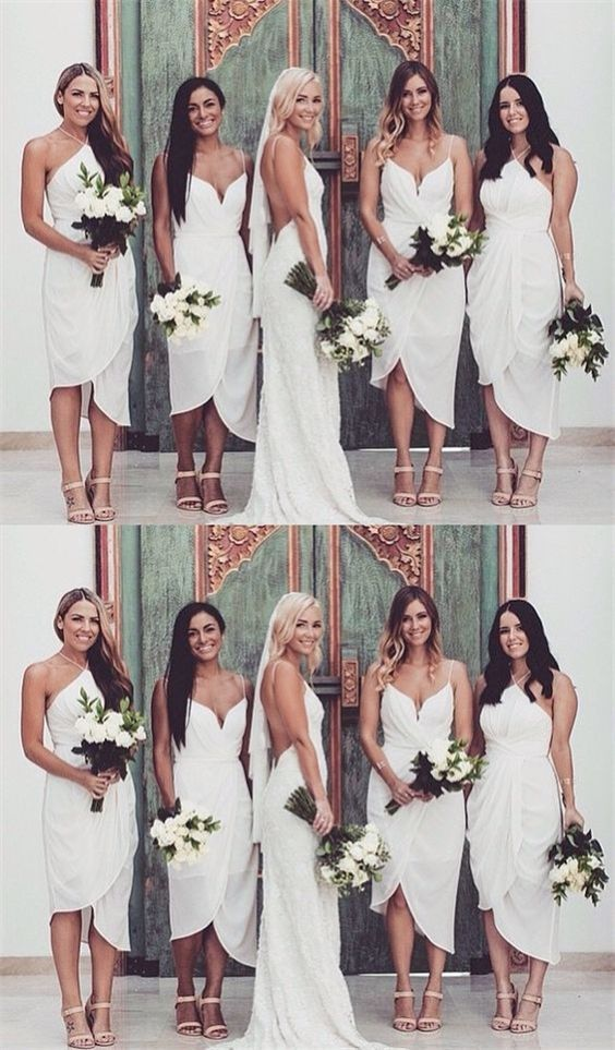 Sheath Spaghetti Straps Asymmetrical White Chiffon Bridesmaid Dress