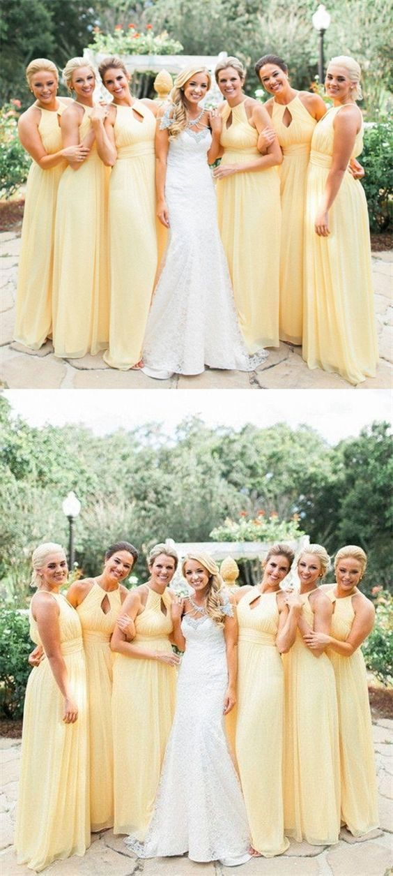 A-Line Halter Floor-Length Keyhole Yellow Chiffon Sleeveless Bridesmaid Dress