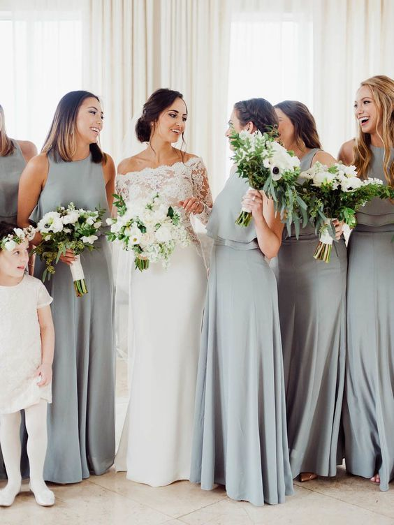A-Line Crew Floor-Length Grey Sleeveless Chiffon Bridesmaid Dress with Ruffles