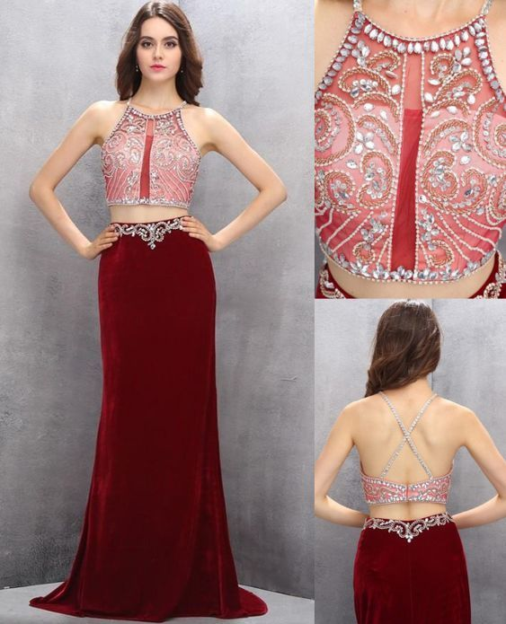 472fb253a1c Burgundy Prom Dresses, Two Piece Prom Dresses, Gorgeous Long Beaded 2 Pieces