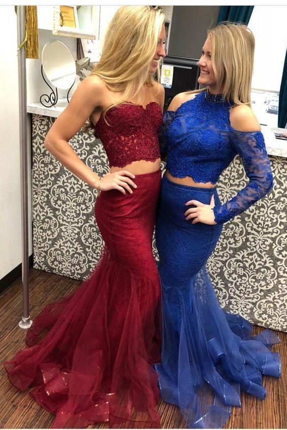 Burgundy Prom Dress,Two Piece Mermaid Prom Dress,Beaded Prom Dress,Sexy Party