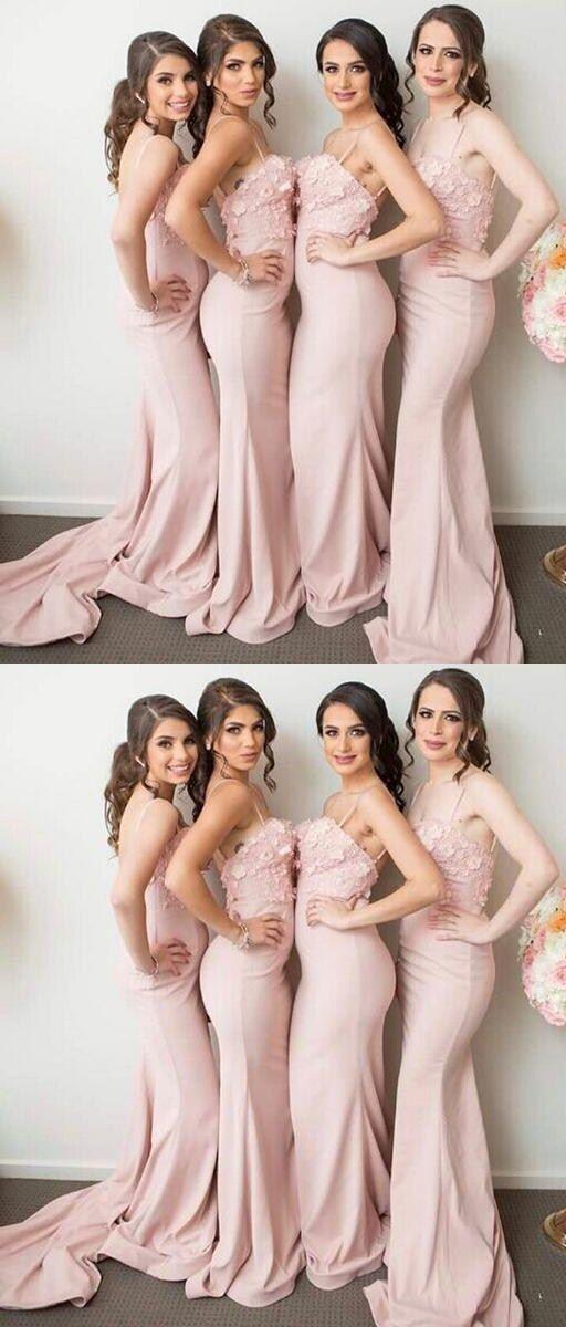 Mermaid Spaghetti Straps Pink Stretch Satin Bridesmaid Dress with Appliques