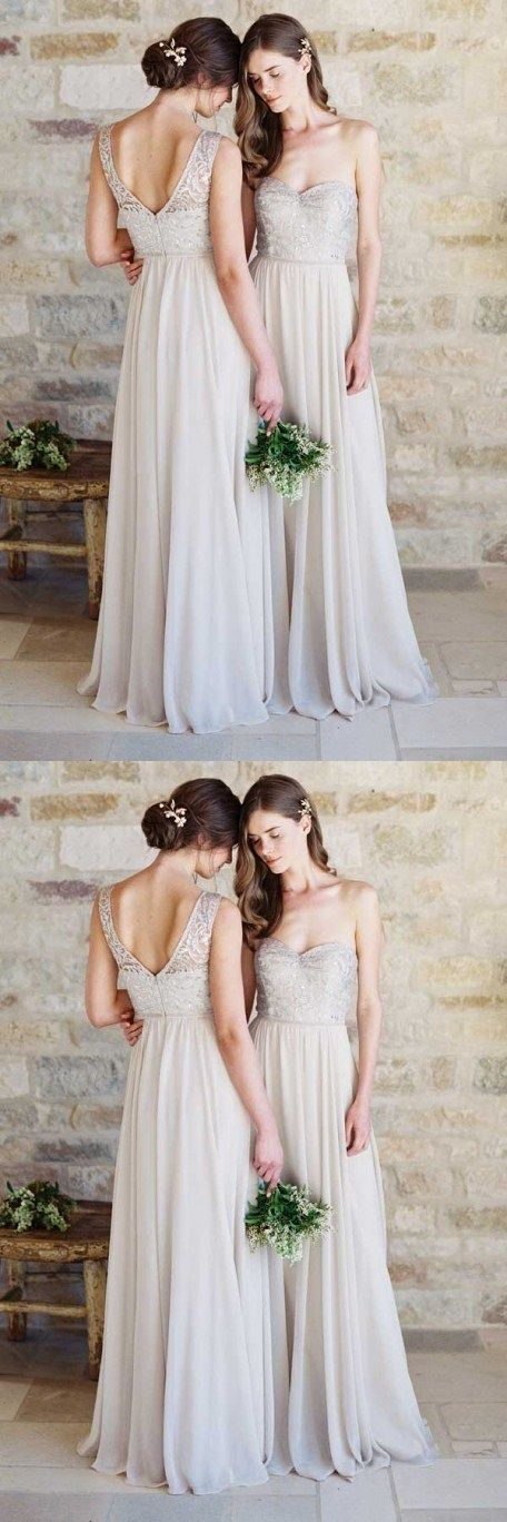 A-Line Sweetheart Light Grey Chiffon Bridesmaid Dress with Lace