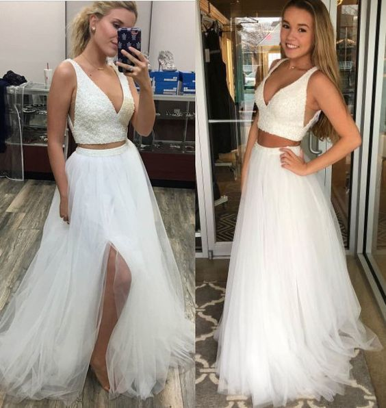 Two Pieces Prom Dress with Beaded Crop Top by prom dressesTwo Pieces Prom Dress