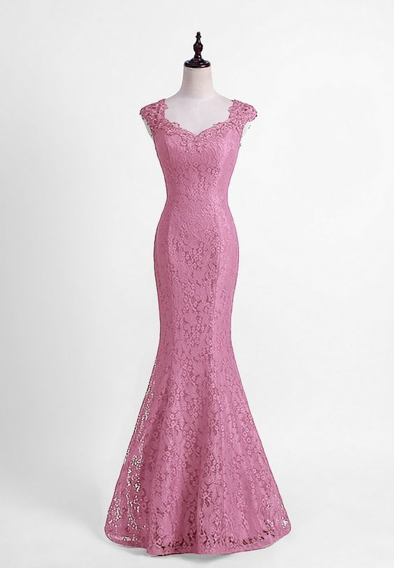 Floral Lace Queen Anne Floor Length Mermaid Formal By Dresses On