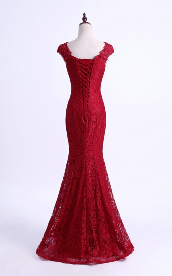 Floral Lace Queen Anne Floor Length Mermaid Formal Dress Featuring Lace-Up Back,