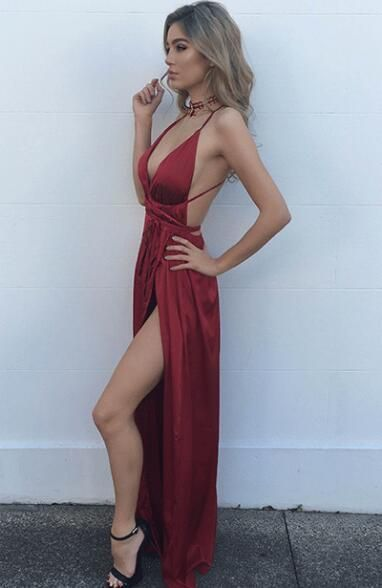 4b2f073665 Sexy Red Prom Dress,Spaghetti Straps Evening Dress,Backless Sexy Party