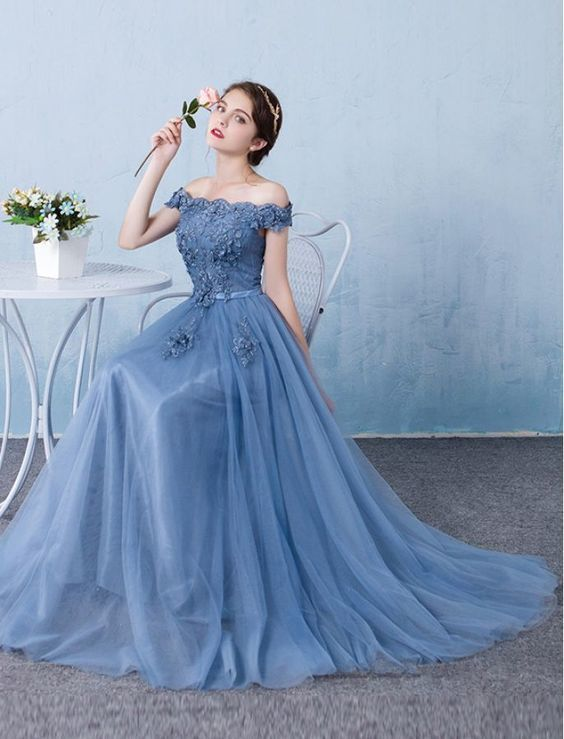 fd192c7399fa Elegant Baby Blue Prom Dress,Off The Shoulder Party Dress,Lace Appliques  Beaded