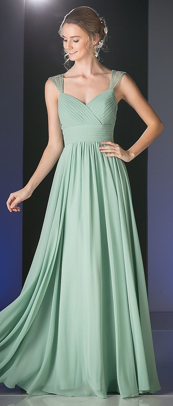 Beaded Cap Sleeves Sweetheart Bridesmaid Dress Sage Green Chiffon
