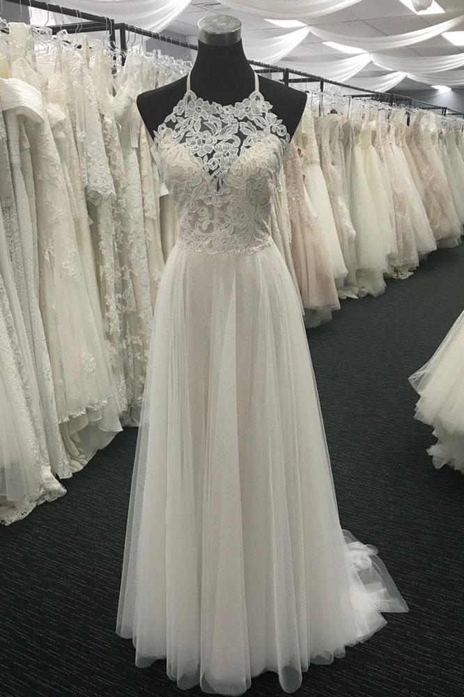 18f43896e127 WHITE A-LINE, LACE CHIFFON ,LONG PROM DRESS, by prom dresses on Zibbet
