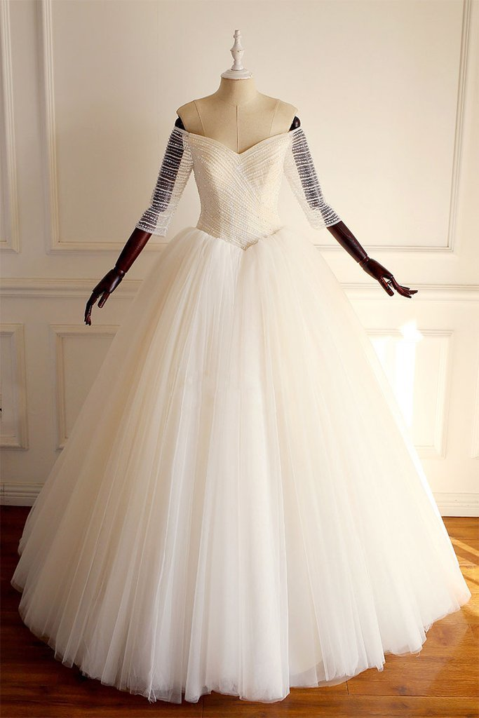 LIGHT CHAMPAGNE OFF SHOULDER TULLE BEADS LONG by prom dresses on
