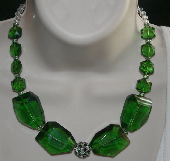Chunky Green Crystal Quartz Statement Necklace, Huge Emerald Crystal Nugget