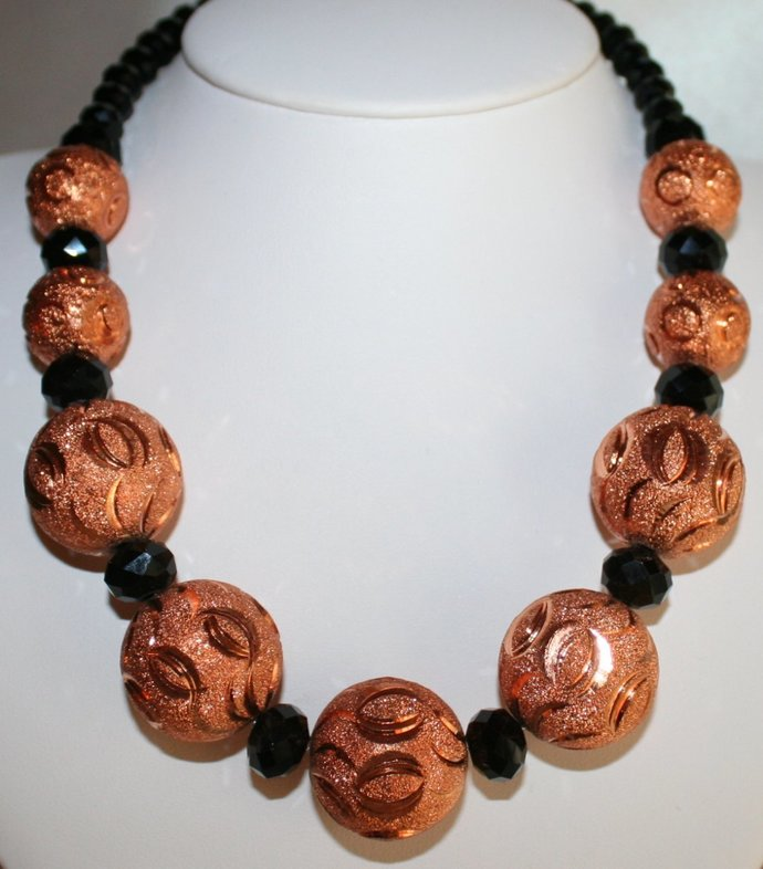 Bold Chunky Brushed Copper Wedding Statement Necklace, Big Black Crystal