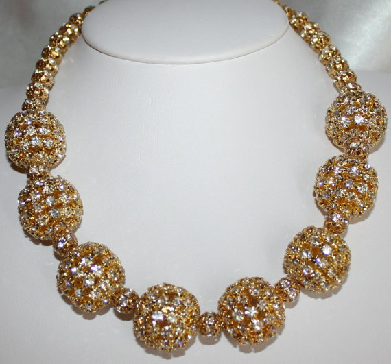 Large Chunky Gold Rhinestone Beaded Necklace, Gold Choker Wedding Statement