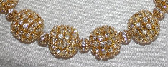 Large Chunky Gold Rhinestone Beaded Necklace, Gold Choker Wedding Statement