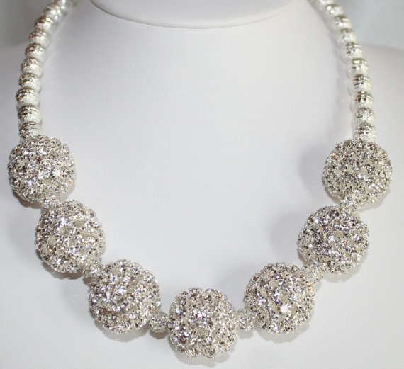 Large Chunky Silver Rhinestone Statement Necklace, Silver Choker Wedding