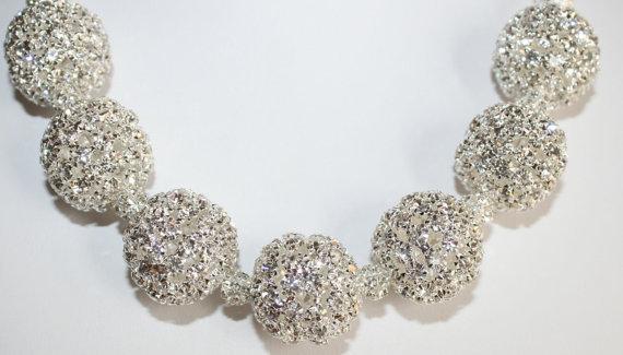 Large Chunky Silver Rhinestone Statement Necklace, Silver Choker Wedding