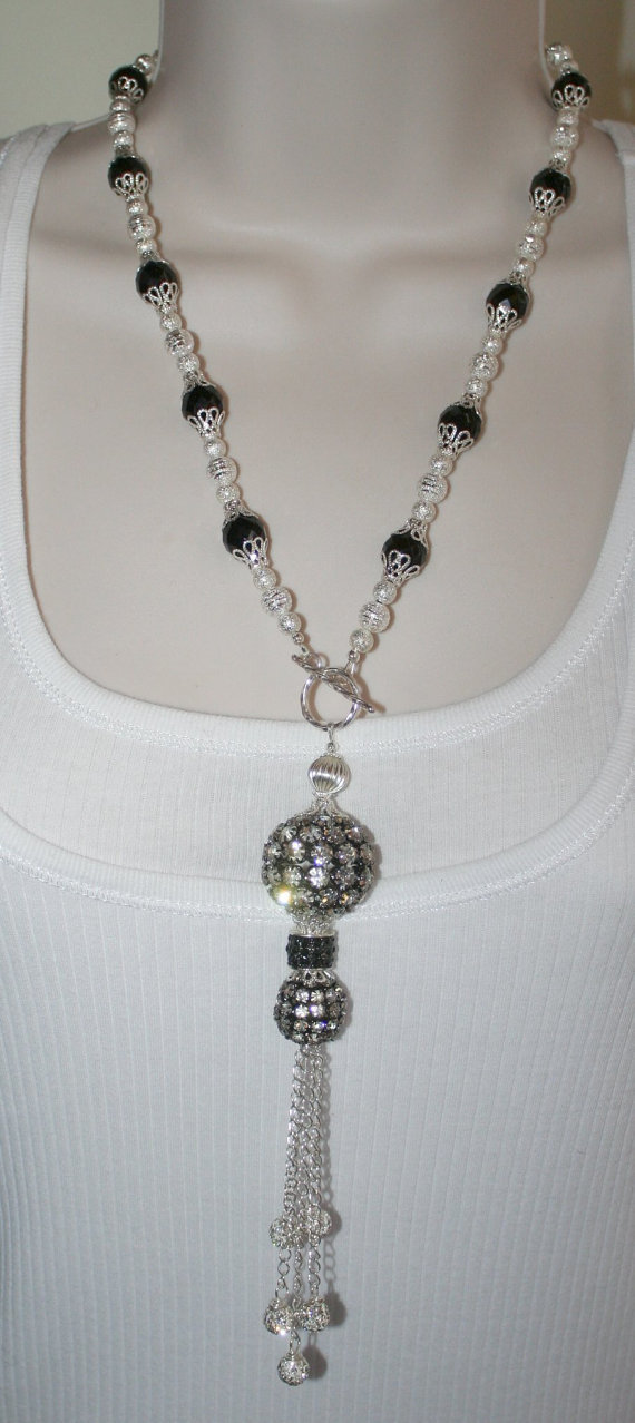 Silver Rhinestone Wedding Statement Necklace, Silver Stardust Bead & Chunky