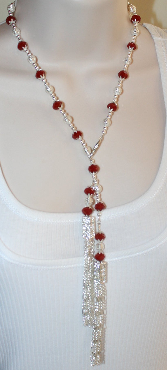 Silver Rhinestone Wedding Statement Necklace, Red Velvet Crystal Lariat Style