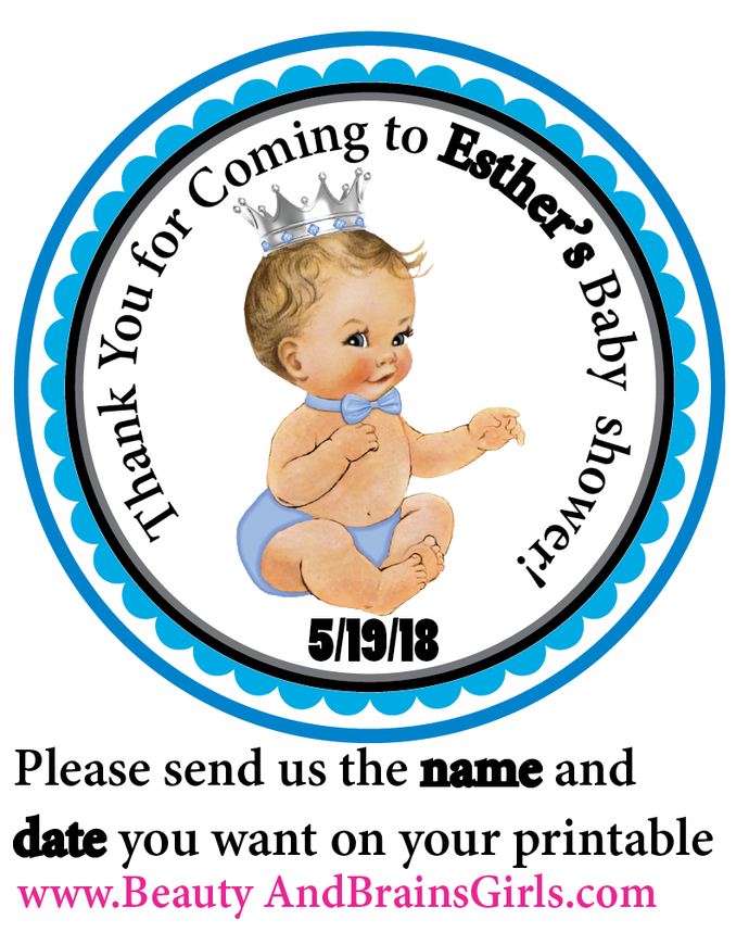 Copy of Baby Boy SHOWER Blue Blonde Hair  Printable Party Favor Birthday- Tag