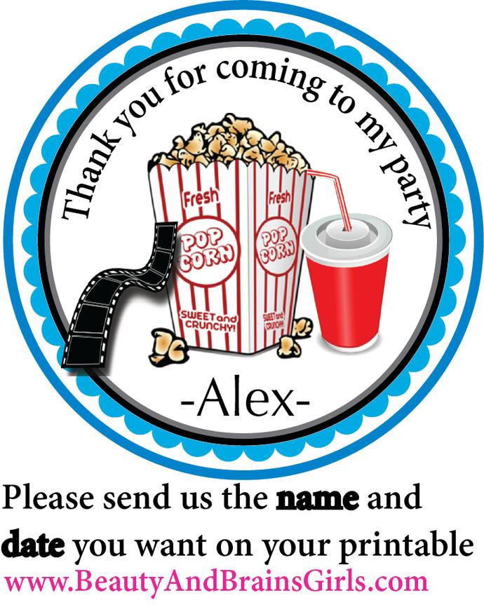 Custom Movie Night Party Favor Theme- Printable Party Favor Birthday- Tag Gift