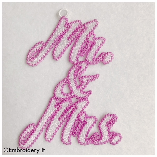Free Standing Lace Mr. and Mrs. Tag Machine Embroidery Design in Pes, Dst, Exp,