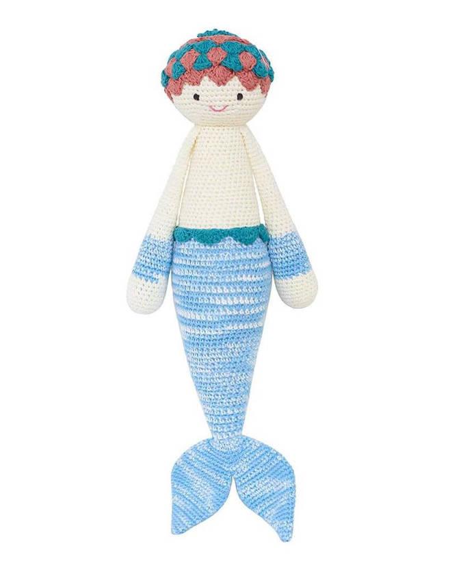 Blue Mermaid Handmade Crochet Doll, Amigrumi cute dolls, baby shower gift