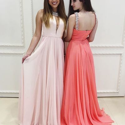 Chiffon Sleeveless Beaded Prom Dress, Sexy Prom Dresses, Sweep Train Long