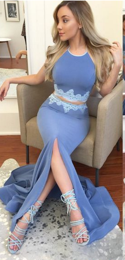 Copy of two piece long prom dress, prom dress, grey mermaid long prom dress,