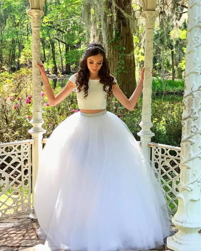 Tulle Prom Dress, Sexy White Two Piece Prom Dresses, Long Evening Dress