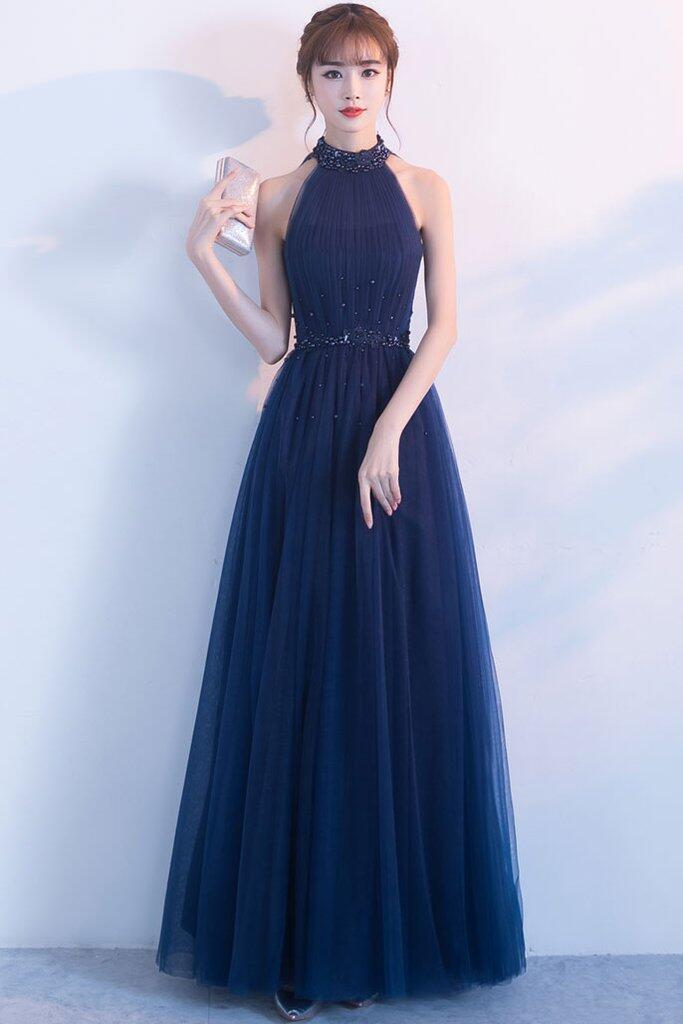 00f59dde6 Charming A-Line High Neck Sleeveless Tulle Long Prom Evening Dress With  Beading