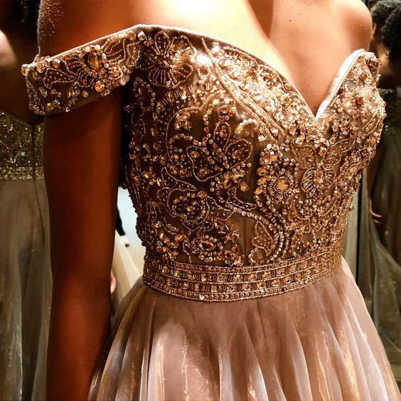 Off the Shoulder Long Prom Dresses with Rhinestone, Floor Length Tulle Prom