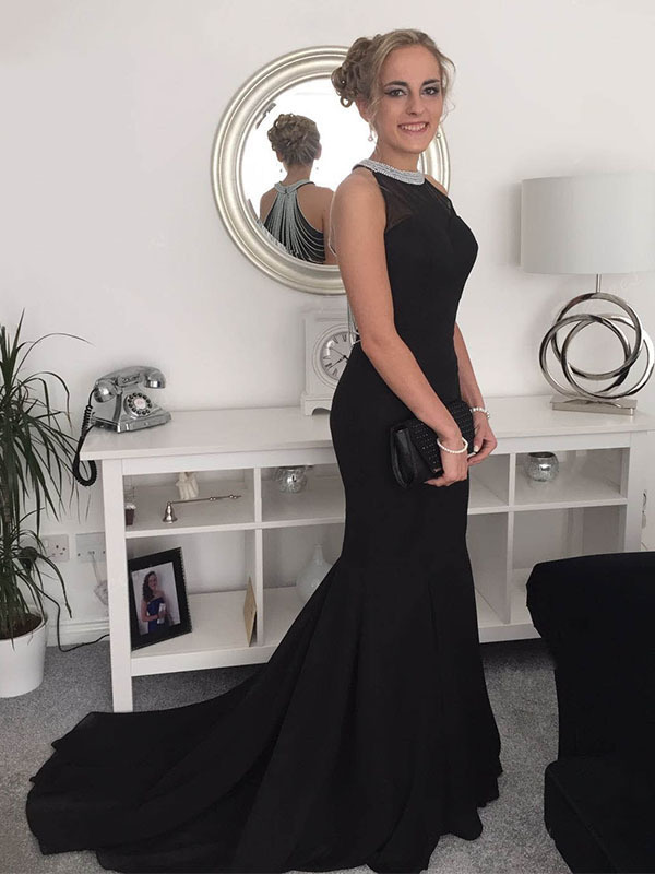 Black Prom Dresses,Long Mermaid Prom Dresses, Beads Prom Dresses