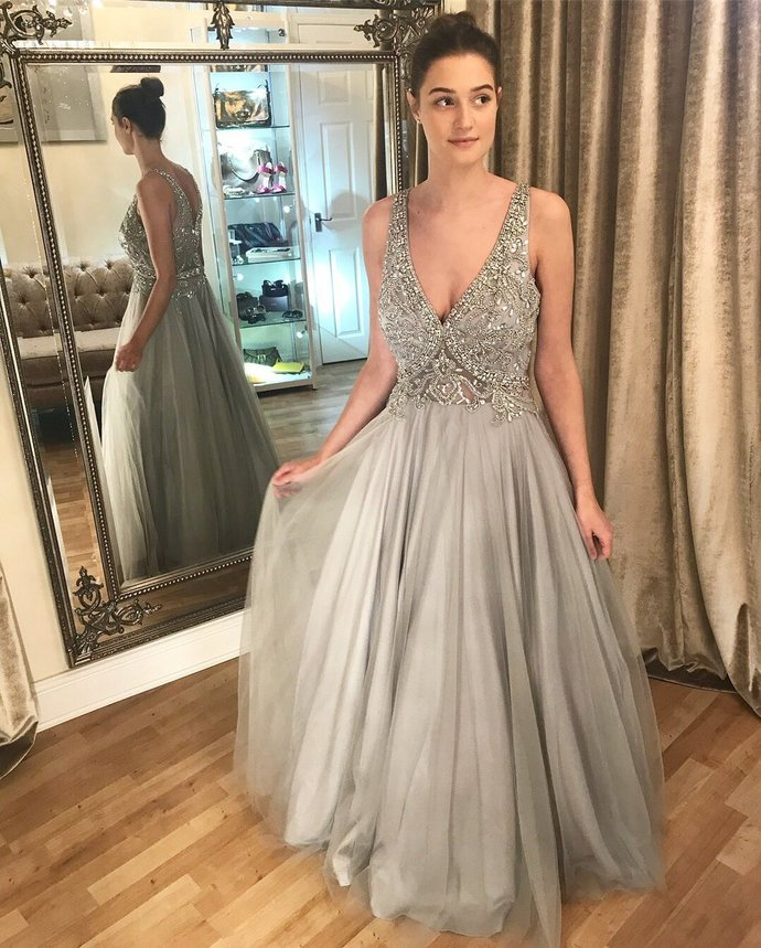 Sexy V Neck Tulle Crystal Beaded Prom Dresses, Long Evening Dress
