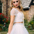 Two Piece White Long Prom Dress with Cap Sleeves