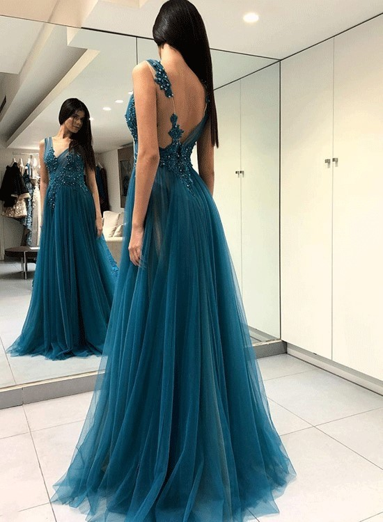 Sexy Blue Sleeveless Lace Applique Long Prom Dress,Split Tulle Evening Dress