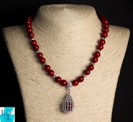 Coral Silver Necklace and Earring Set