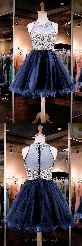 Short Prom Dresses Blue, Prom Dresses For Teens, A-line Cocktail Dresses Scoop